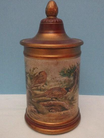 Comoy's of London Tobacco Jar w/ Rubber Seal Lid Pheasants Landscape Scene Gilt Trim