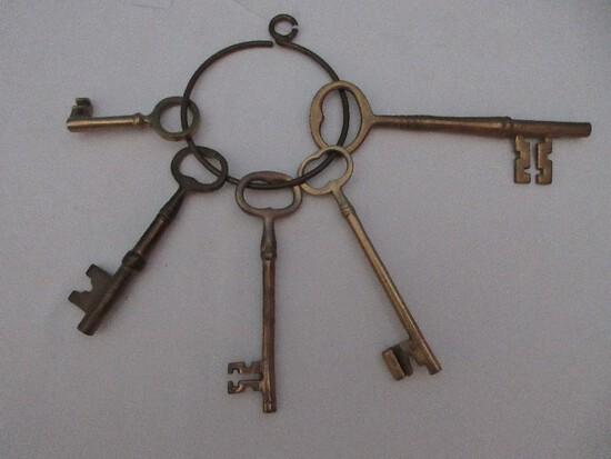 5 Large Brass Skeleton Keys on Ring Holder