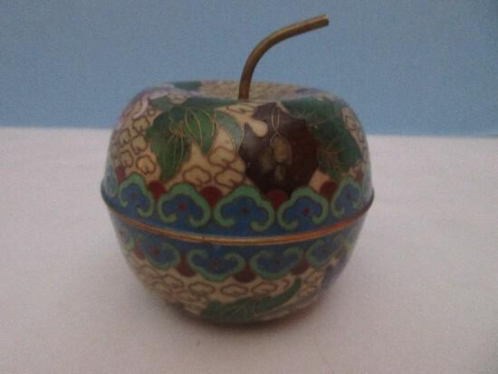 Vintage Cloisonné Apple Trinket Box w/ Stem Chrysanthemums Design