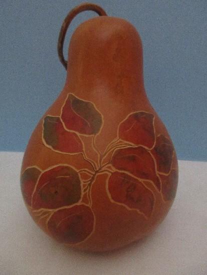 Extraordinary Gourd Craft Originals Artisan 2 Piece Gourd w/ Intaglio Foliate Design