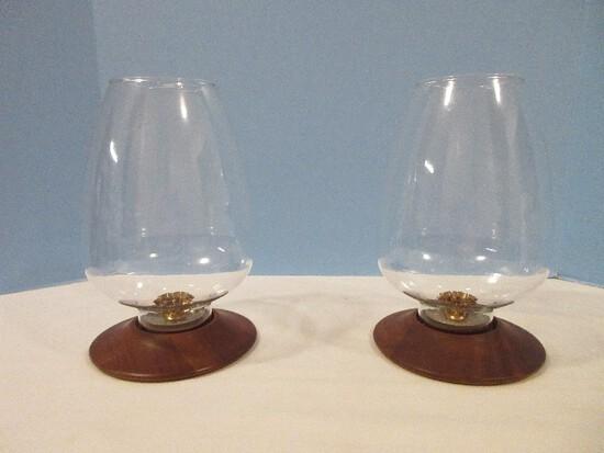 Pair - David Douglas & Co., Inc. Mid-Century Modern Walnut Base Candle Holders