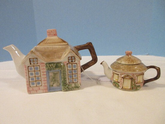 Charming Porcelain Cottage w/ Thatched Roof Figural Teapot w/ Covered Creamer