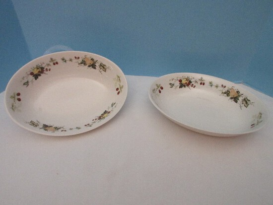 """2 Pieces - Royal Kent Fruit on Rim Pattern Rok 8 China 9 5/8"""" Oval Vegetable Bowls"""