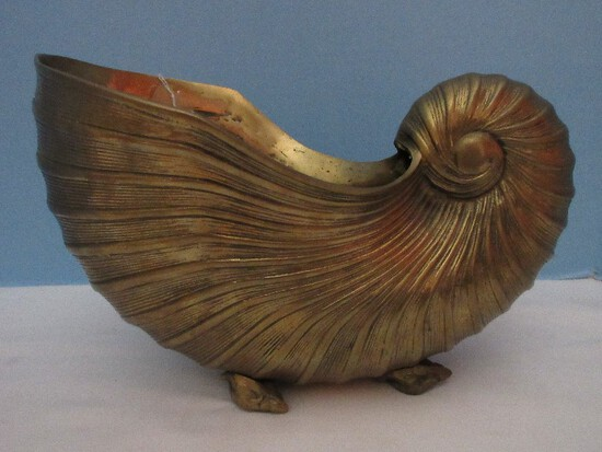 Solid Brass Nautilus Shell Planter on Conch Spiral Shell Feet