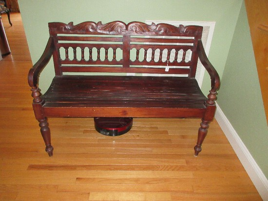 Wooden Ornately Carved Spindle & Foliate Back Bench Slate Seat on Ring Turned Turnip Feet