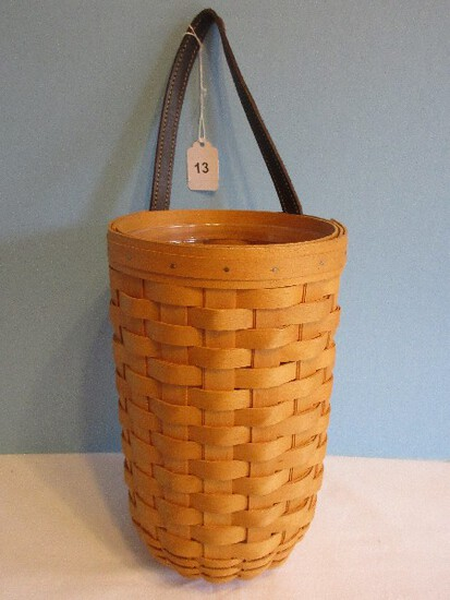 Longaberger Hand Woven Classic Larger Gate House Basket w/ Liner & Leather Strap
