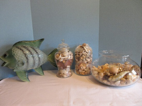Lot - 2 Glass Jars/Bowl w/ Candle Decorative Seashell Collection & Ceramic Striped Figure