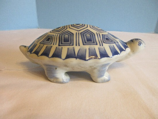 Semi-Porcelain Blue/White Figural Turtle