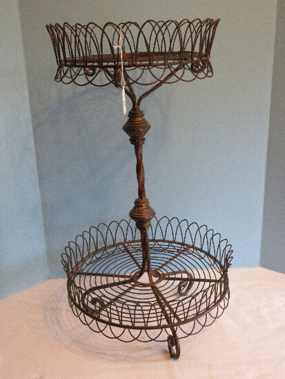 2 Tier Wire Basket Round Server Scroll Work Design Antiqued Patina
