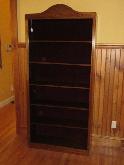 Bookcase w/ Adjustable Shelves Arched Pediment & Upholstered Felt Back