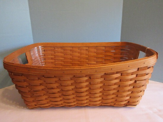 Traditional Longaberger Small Laundry Basket w/ Liner Signed E.B. 1995