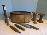 Textile Lot - Vintage Wooden Loom Shuttle Bobbins, Mill Spools, Etc.
