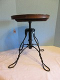 Black Wrought Iron Ice Cream Parlor Style Stool w/ Wooden Seat Adjustable Height