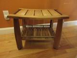 Teak Wood Shower/Steam Room/Sauna Bench Stool w/ Base Shelf