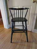 Painted Black Wooden Curved Spindle Back High Chair