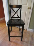 Black Lacquer Traditional Design Crisscross Back Barstool w/ Foot Rest
