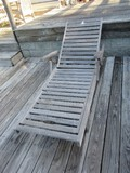 Frontgate Teak Patio Chaise Lounge on Back Casters Adjustable Back