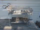 Patio Tea/Serving Cart Metal Frame w/ Teak Wood Shelves & Handle Traditional Design
