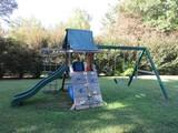 Awesome Residential Kids Wood Playset Rock Wall, Slide, Fort, Swings & More