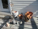 Lot - Terra Cotta Clay, Molded Planters, Strawberry Pot, Whimsical Garden Figures, Etc.