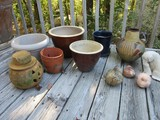 Lot - Misc. Flower Pots Clay, Pottery, Molded, Pitcher & Figures