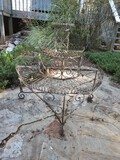 Metal Tiered Half Round Decorative Plant Stand Weathered Patina