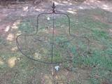 Wrought Iron Half Bound Plant Stand 6 Holder w/ Fleur De Lis Finial