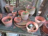 Contents Lot - Misc. Clay Flower Pots & Other