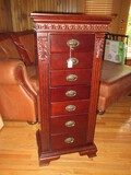 Elegant Jewelry Armoire Mirror Lift Top w/ Fitted Interior Compartments, 7 Drawers