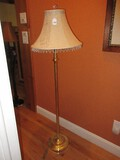 Brass Finish Swing Arm Reading Floor Lamp w/ Tassel Shade & Multifaceted Crystal Finial