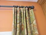 Lot - Window Treatments, Rods & Hoops, 2 Panels Lined
