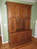 Custom Built Oak Hutch Cabinet Panel Doors, Trim Molding, Spiral Bird Cage Pulls & Slide Outs