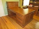 Custom Built Partners Oak Desk w/ Bird Cage Spiral Pulls, Upper Cabinet Dual Pull Out Shelves