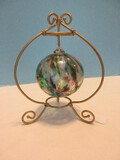 Hand Blown Art Glass Multi-Color Sphere Ornament w/ Gilted Scroll Design Stand