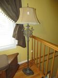 Elegant French Inspired Floor Lamp Heavily Adorned Reticulated Urn