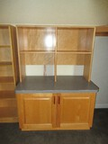 Wood Base Cabinet w/ Double Doors, Laminate Top & Bookcase