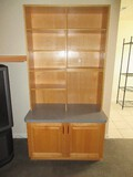 Cabinet Base Bookcase w/ Adjustable Shelving, Laminate Top & Double Base Panel Doors