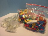 Lot - Large Tyco Building Blocks w/ People & Animals, Glow in Dark Magnetic Letters