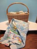 Basket w/ 3 Crocheted Baby Blankets & Block Pattern Baby Quilt Some Blocks