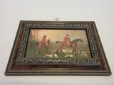 English Equestrian Fox Hunt Scene w/ Hounds Print on Board Molded Burled Finish