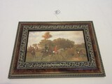English Equestrian Fox Hunt Scene Tally-Ho! Print on Board Molded Burled Finish
