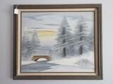 Winter Landscape Bridge Crossing Stream Original Oil on Canvas