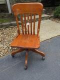 Oak Slat Back Swivel Chair on Casters