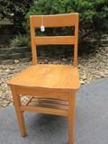 Oak Ladder Back Desk Chair w/ Book Rack Under Seat