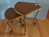 Pair - Oak Corner Nesting Table Transitional Modern Style on Scroll Work Design