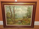 Flowing Stream Landscape Scene Artist Signed C. Lambert Original Oil on Canvas