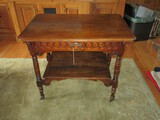 Antique Walnut Serving Cart Table w/ Cove & Pin Drawer Intaglio