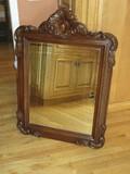 Elaborate Baroque Style Molded Framed Beveled Wall Mirror Mahogany Finish