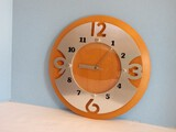 Modern Contemporary Wall Clock Battery Powered Stainless Steel Face Beveled Simulated Disc