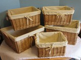 Lot - 3 Nesting Baskets w/ Leather Handles Cotton Lining & 2 Others